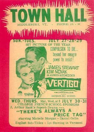 Playbill (historic) at Town Hall Theater Middlebury